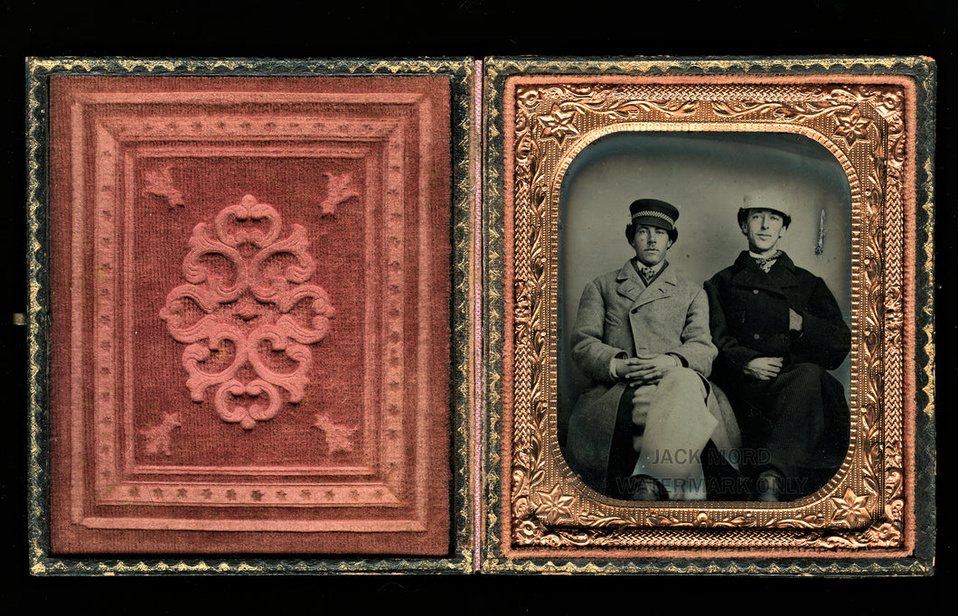 1860s tintype of men friends in hats & jackets - civil war tax stamps on back