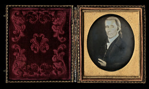 1850s Daguerreotype Painting of Revolutionary or Colonial Man maybe Political