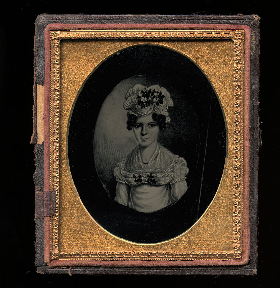 1850s Ambrotype Painting of Colonial Period Drawing of Woman