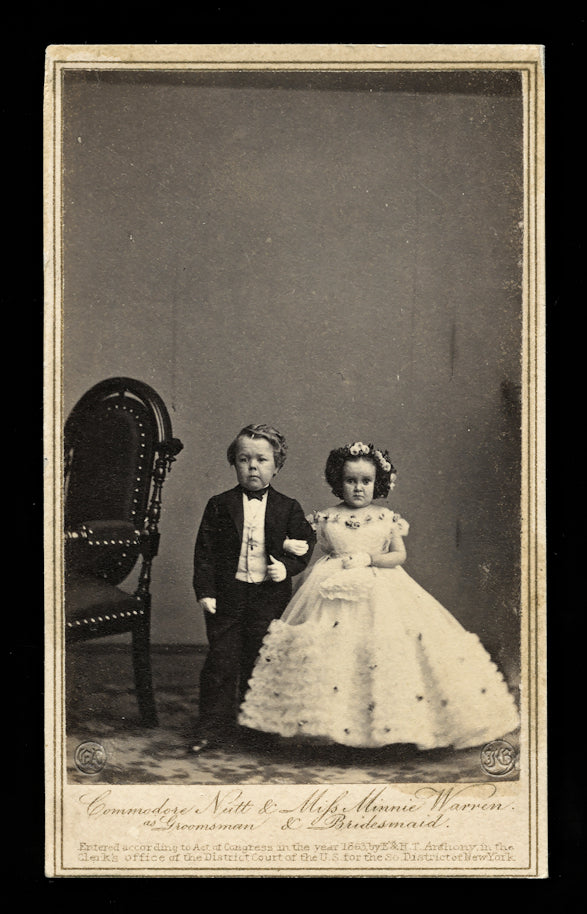 Groomsman & Bridesmaid, Tom Thumb Wedding, 1860s CDV Photo by Brady
