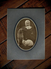 Load image into Gallery viewer, Wonderful Antique Photo Little ID'd Girl Pet Pug ?? Dog & White Cat 1800s 1900s