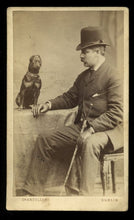 Load image into Gallery viewer, Antique CDV Photo Dublin Ireland Man & Funny Little Dog - Champion Rat Catcher!