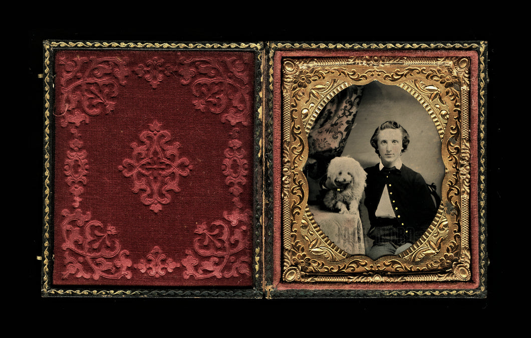1/6 Ruby Ambrotype Young Man Painted Buttons & Rings with Poodle Dog - Soldier?
