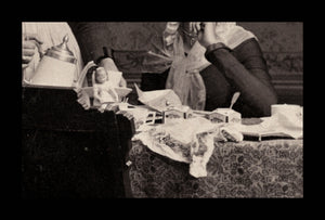Wonderful COFFEE KLATCH / Masquerade / Tea Party Incl Doll 1890 Wisconsin Photo