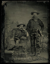Load image into Gallery viewer, Excellent Antique Cowboys / Army Scouts Tintype Photo / Both Armed One Holding Bugle
