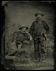 Excellent Antique Cowboys / Army Scouts Tintype Photo / Both Armed One Holding Bugle