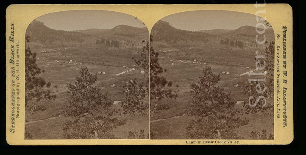 Rare Stereoview, George Armstrong Custer Expedition Black Hills SOUTH DAKOTA  - ILLINGWORTH C1874