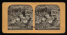 Load image into Gallery viewer, Amazing Antique Tissue Stereoview Photo ~ Devil and Skeletons on Penny Farthing Bikes!