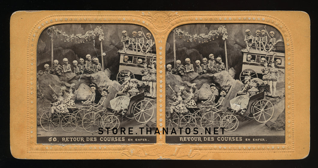 Amazing Antique Tissue Stereoview Photo ~ Devil and Skeletons on Penny Farthing Bikes!