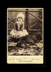 Antique Photo Little Girl & Dog Druggist Photographer Watford Ontario Canada