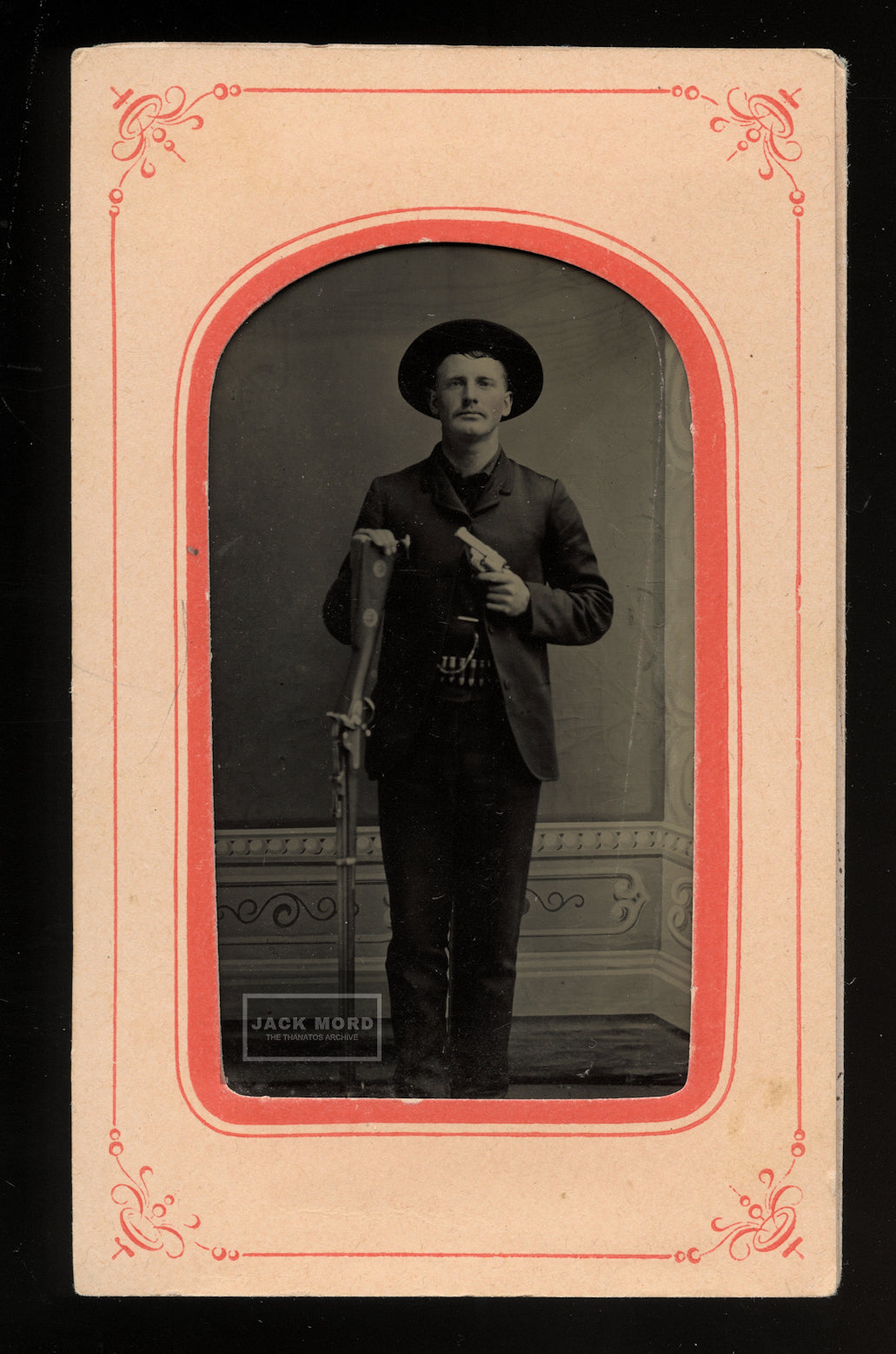 Western Man / Cowboy Double Armed with Pistol Rifle, & Cartridge Belt - Antique 1870s Tintype Photo