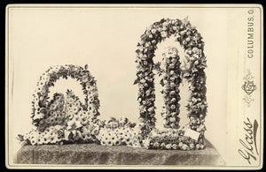 "Victorian Memorial Photo Cabinet Card with ""Heavenly Gates"" Floral Wreath"