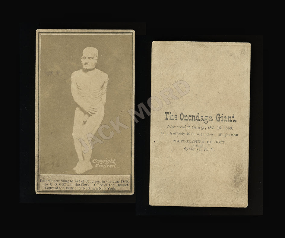 Rare CDV of the Onondaga / Cardiff Giant - 1860s Hoax