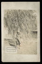 Load image into Gallery viewer, Creepy Halloween Clown Kid & Willow Tree - Young Michael Myers! Vintage Photo