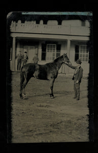 1860s Tintype Photo - Outdoor Street Scene, Man with Horse, Building