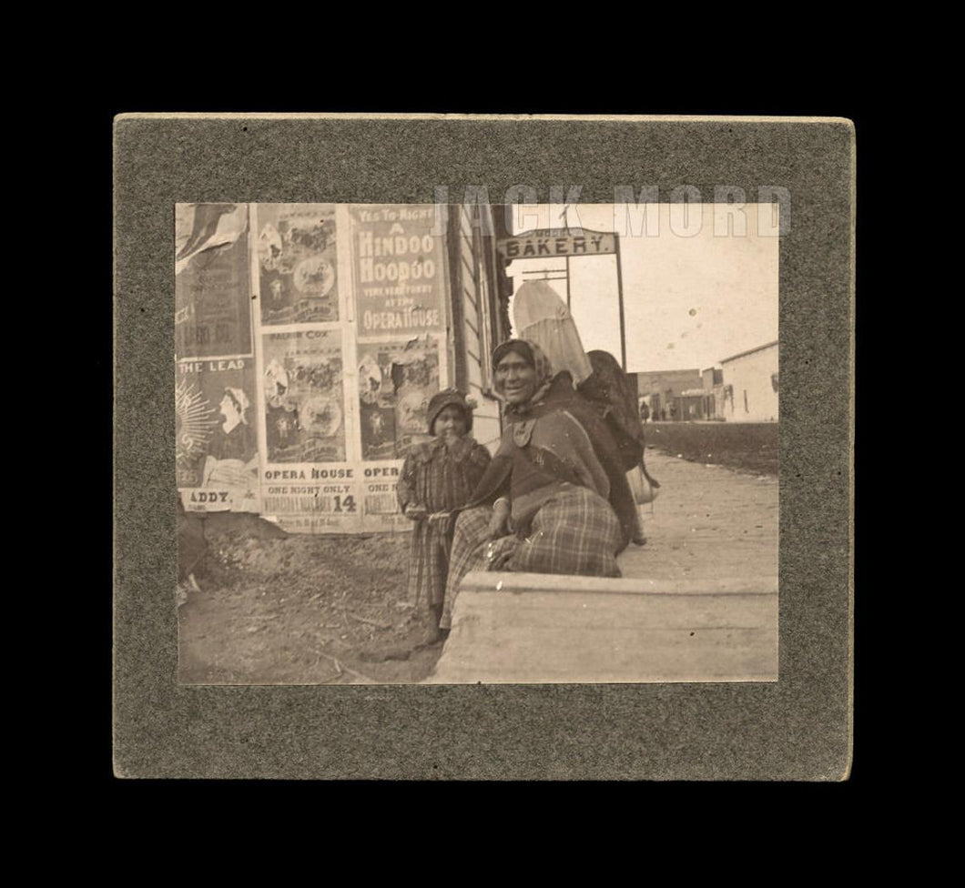 photo pocatello idaho street native american indian woman / signs ads broadsides