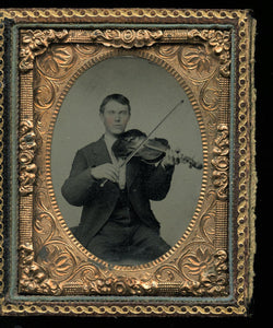 1860s Tintype Photo Man Playing Violin / Violinist / Musician