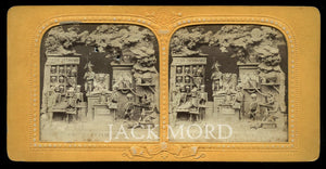 RARE 1860s Tissue Stereoview ~ Satan's Library or Study Room (1)