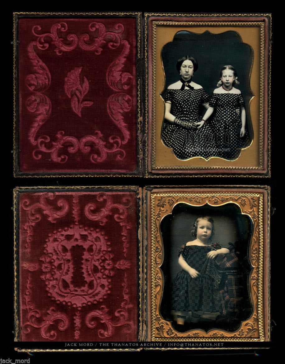 Two Fine Color Tinted 1/4 Daguerreotypes ~ Mother & Daughter and Boy w Toy Hammer
