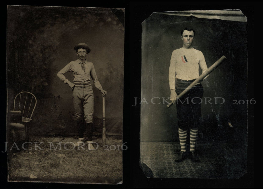 TWO Antique Baseball Photos ~ 19th Century Tintypes