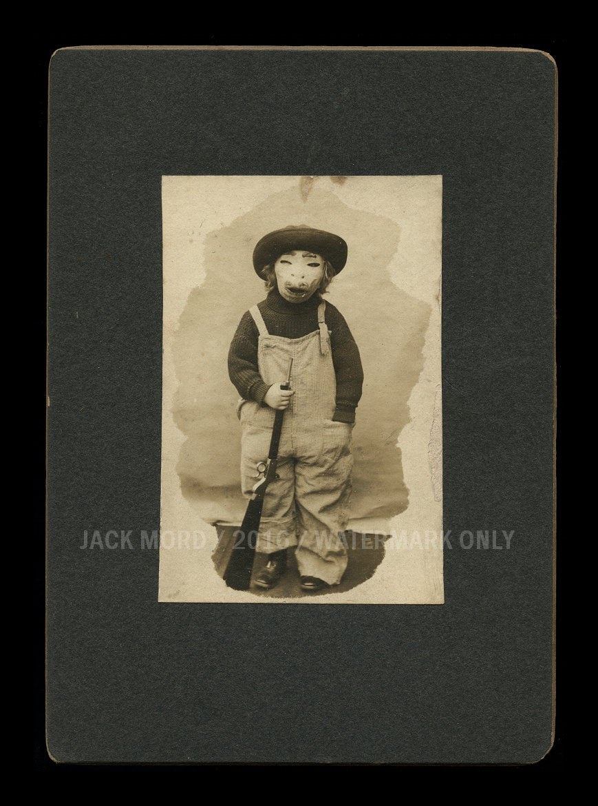 super creepy antique photo - boy in halloween costume / mask - early 1900s