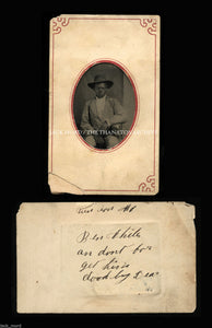 African American Boy - Antique Tintype Photo with Great Handwritten Note!!