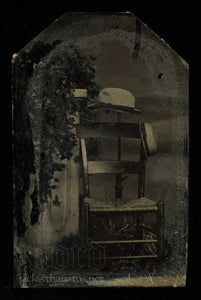 Unusual Antique Tintype - Two Hats on Posing Stand & Chair - Abstract Still Life