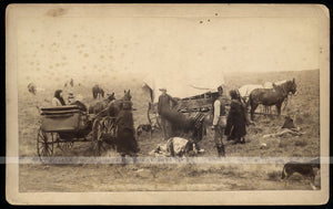 RARE Large Cabinet Photo Comanche Beef Ration Day at Fort Sill Indian Territory