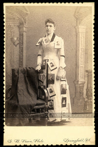 Rare Advertising Banner Lady with Photos Pinned to Dress / 1890s Cabinet Card