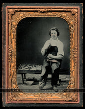Load image into Gallery viewer, Excellent Occupational Photo Shoe Repairman Worker / Cobbler with Tools - 1850s