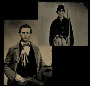 Double 1/6 Tintype Photos - Armed Civil War Soldier + Political Cockade Ribbon