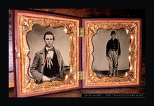 Load image into Gallery viewer, Double 1/6 Tintype Photos - Armed Civil War Soldier + Political Cockade Ribbon