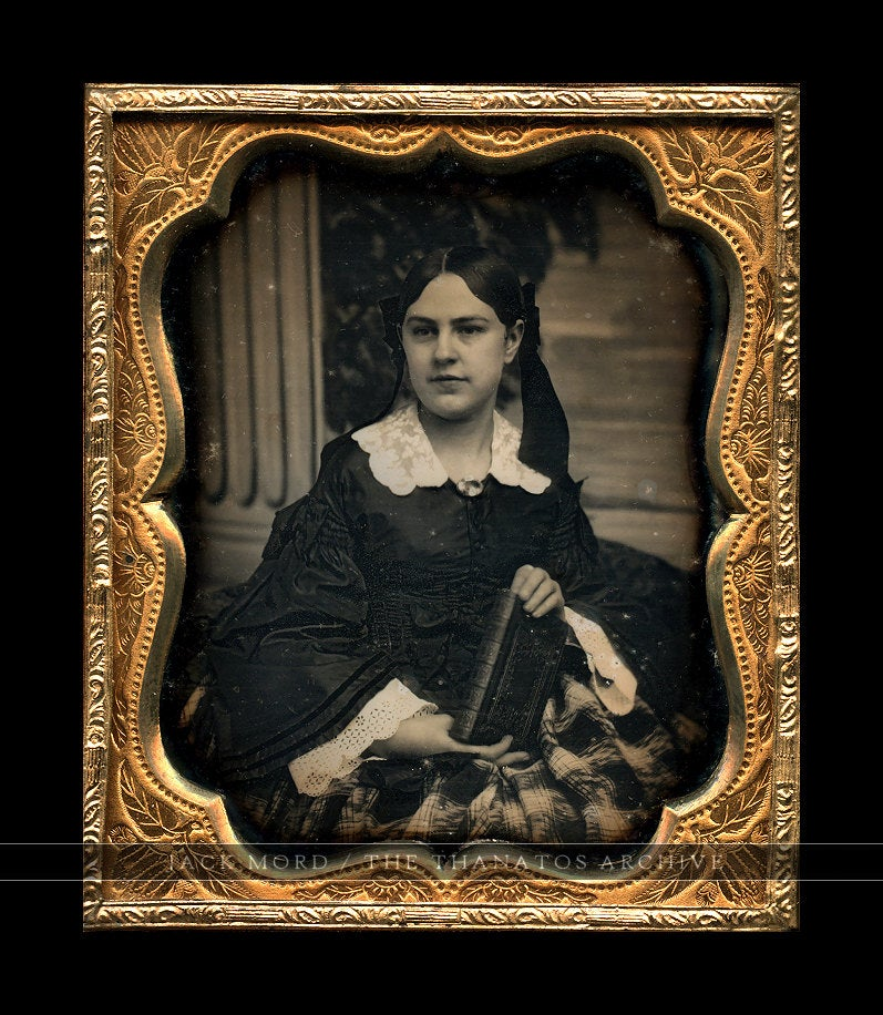 Daguerreotype Beautiful Woman Holding Book / Column & Painted Scenic Backdrop