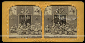 RARE 1860s Devil  & Skeletons Photo / Tissue Stereoview ~ Games with Satan