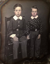 Load image into Gallery viewer, Beautiful Double Daguerreotype Photos Affectionate Siblings Boys & Girls Tinted