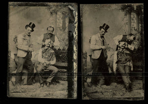 Unusual Antique Tintype Photos Men Bandaging Face of Friend ~ Medical, Oddities