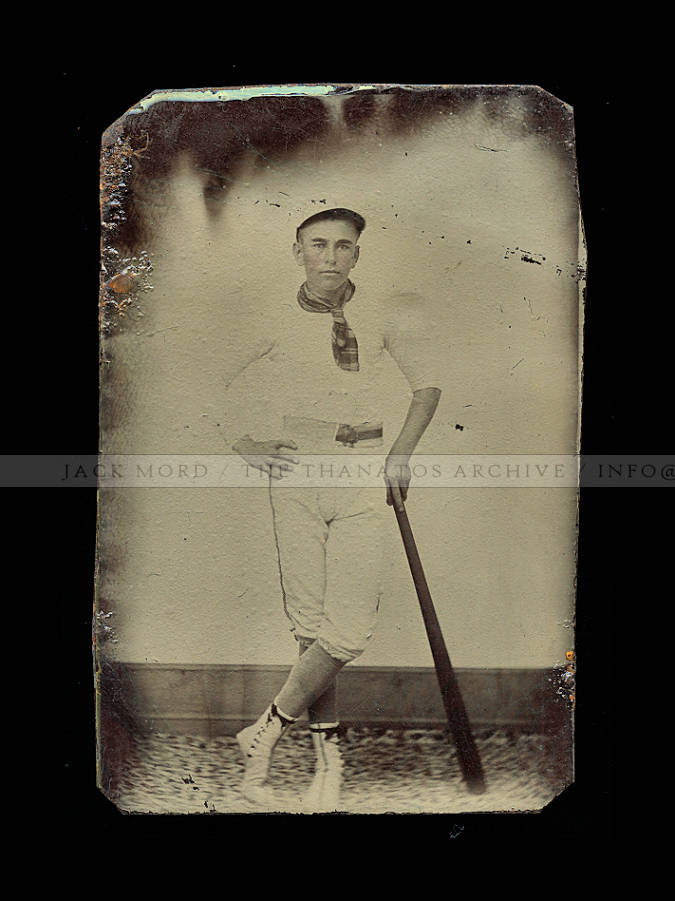 Superb Antique Tintype Photo of a Young Baseball Player / 1800s
