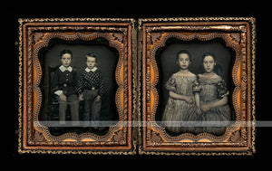 Beautiful Double Daguerreotype Photos Affectionate Siblings Boys & Girls Tinted