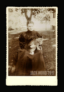 TWO (2) Antique 1800s Cabinet Card Photos of Victorian Cat Ladies