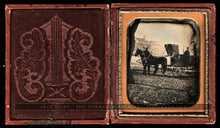 Load image into Gallery viewer, 1850s Dag Horse & Wagon California Blacksmith (?) Sign / Street Scene Buildings