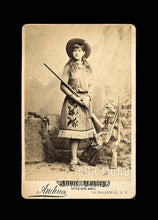 Load image into Gallery viewer, Very Rare and Wonderful Cabinet Card Photo of the Famous Sharpshooter Annie Oakley