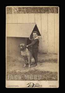 Happy Pennsylvania Boy & Dog Antique 1880s Cabinet Card Photo Wonderful Doghouse!