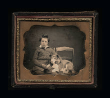 Load image into Gallery viewer, Antique 1850s Daguerreotype Photo New Hampshire Boy & His Dog BOTH ID'd / Sealed