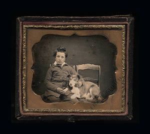 Antique 1850s Daguerreotype Photo New Hampshire Boy & His Dog BOTH ID'd / Sealed