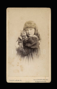 Antique CDV Photo Little Girl Hugging Her Tabby Cat Wonderful Affectionate Pose