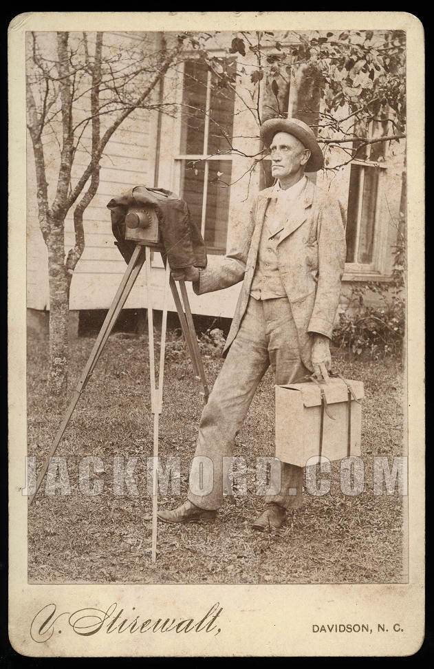 Antique Cabinet Card - Southern Photographer Self Portrait w Camera on Tripod - Unusual - Read!