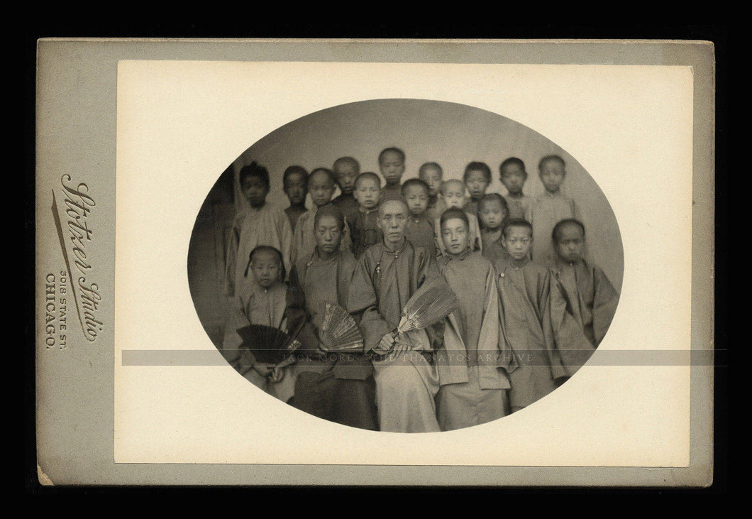 very rare antique photograph chinese teacher & students or troupe from china?