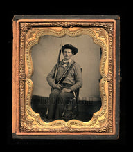 Load image into Gallery viewer, Armed Confederate Soldier Possibly Texas - Excellent 1/6 Ruby Ambrotype