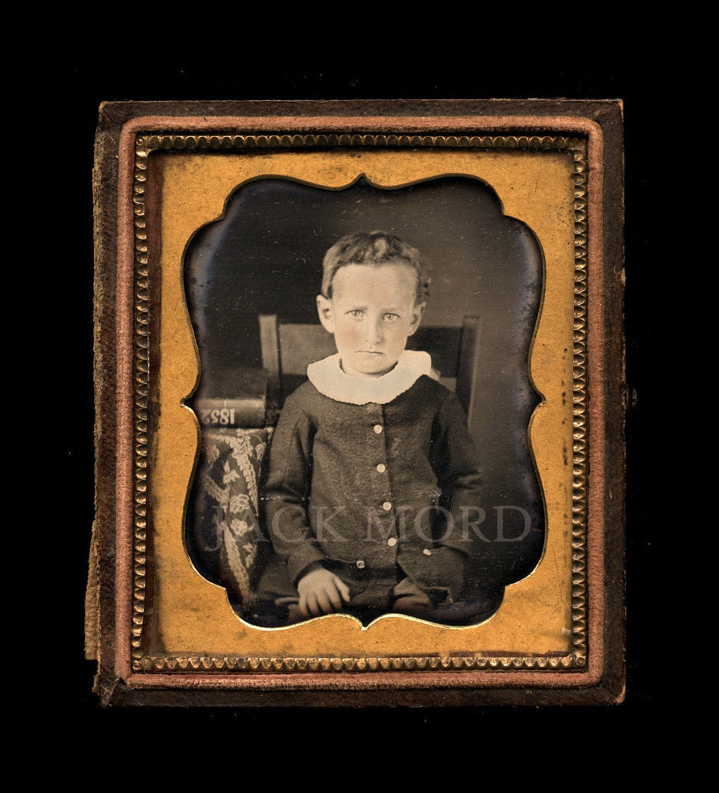 1850s Dated Dag of a Little Boy with DATE (1852) Written on Book