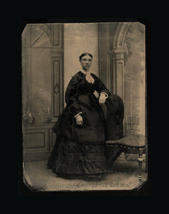 "Full Plate+ (9.5"" x 7"") Tintype Photo - Elegant African American or Mulatto Lady"